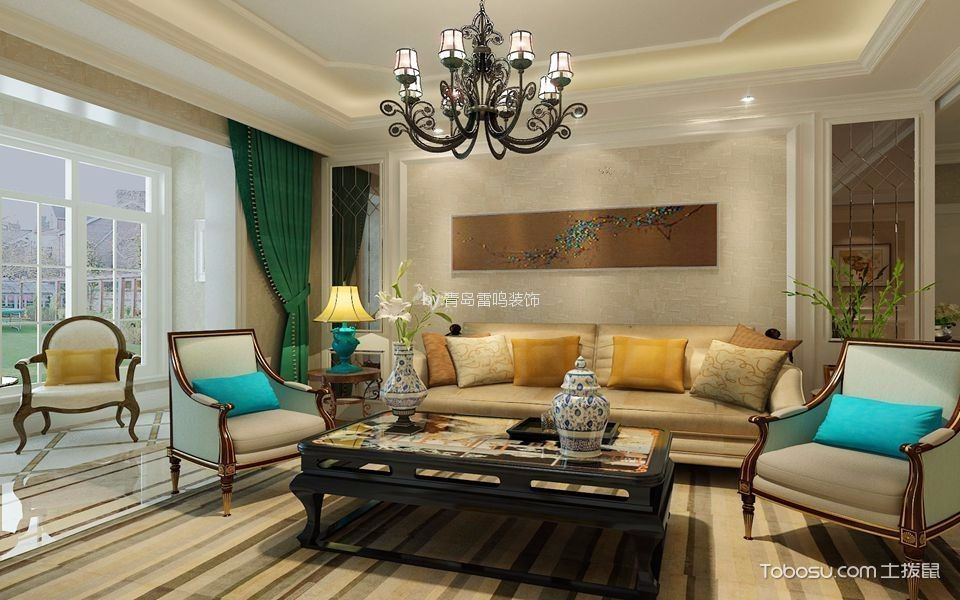 远洋公馆146平美式风格三居室装修效果图