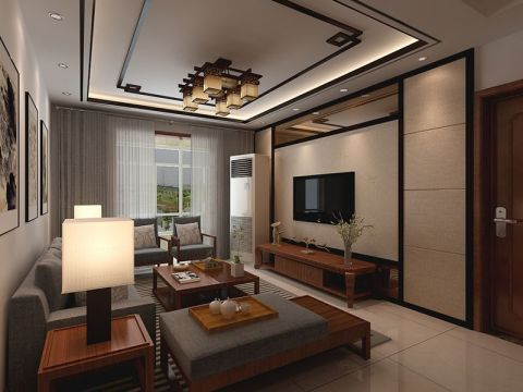 客厅电视柜新中式风格装修图片