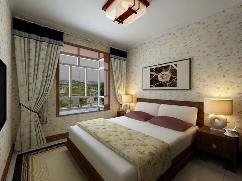 卧室飘窗新中式风格装修设计图片