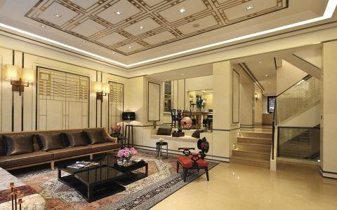 中式风格300平米别墅室内装修效果图