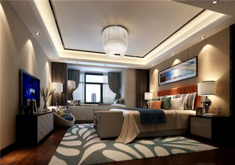 卧室窗帘新中式风格装潢效果图