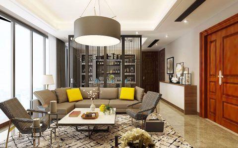 绿城130平现代风格三居室装修效果图
