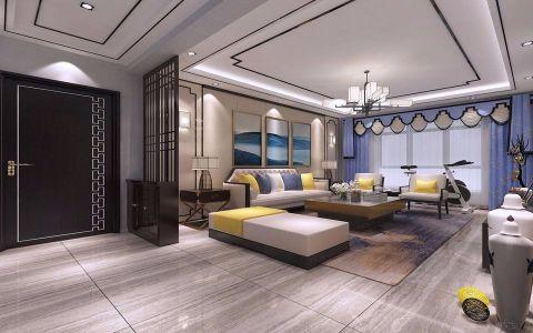 黄岛海信凤凰城130平新中式风格三居室装修效果图