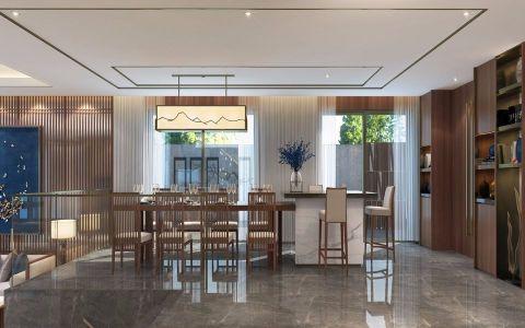 餐厅吊顶新中式风格装修效果图