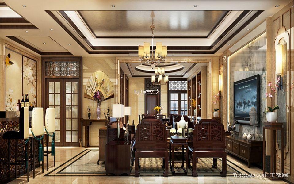 客厅咖啡色吧台新中式风格装潢图片