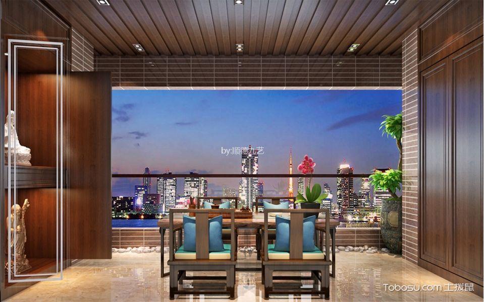 阳台米色地砖新中式风格装修效果图