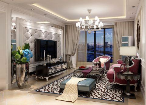 玉兰湾130平米三室两厅两卫K2新古典装修效果图