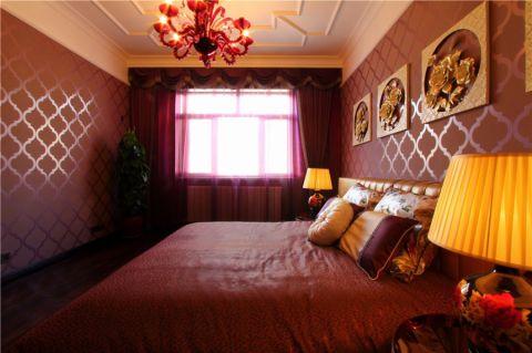 卧室背景墙中式风格装潢效果图