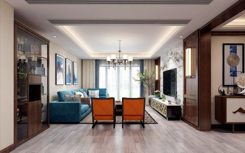 保利西山林语新中式风格四居室装修效果图