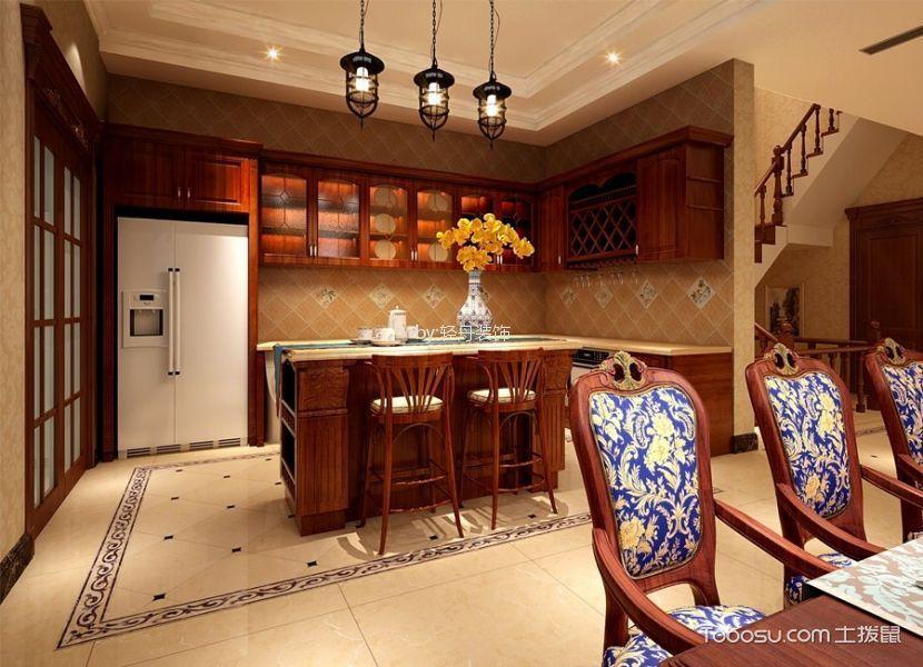 厨房咖啡色橱柜古典风格装饰设计图片