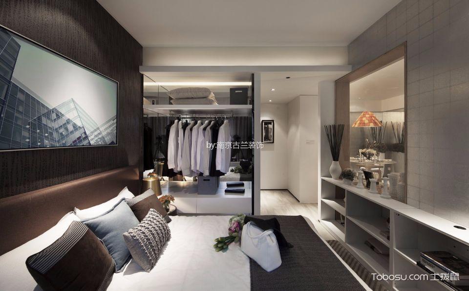 卧室咖啡色衣柜混搭风格装修设计图片