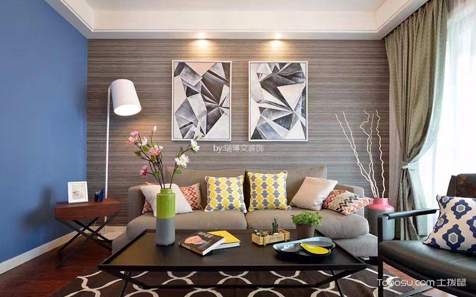汇景苑80平米现代简约风格一居室装修效果图