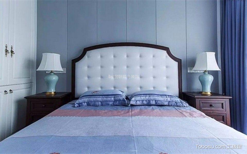 卧室蓝色细节美式风格装修图片