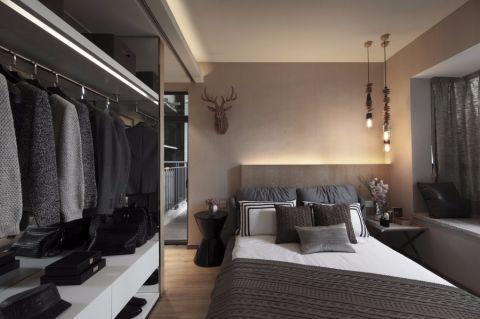 卧室灰色推拉门简约风格装饰图片