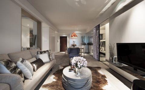 客厅白色沙发混搭风格装饰设计图片