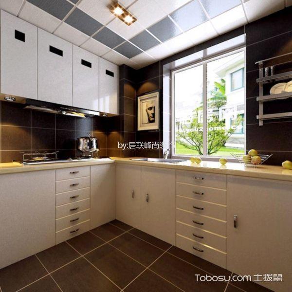 厨房咖啡色橱柜古典风格装修设计图片