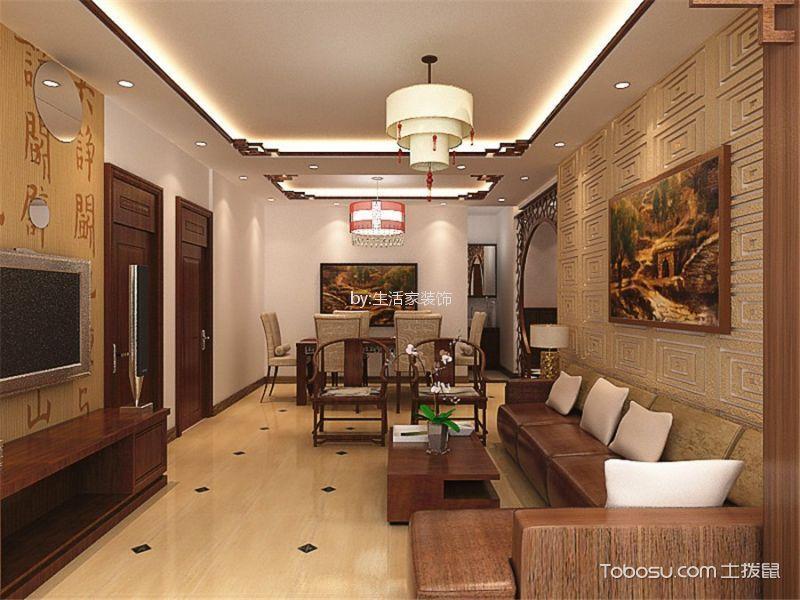 卓越浅水湾113平新中式风格三居室装修效果图