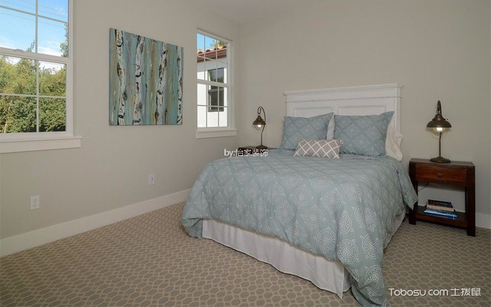 卧室灰色细节美式风格装潢效果图