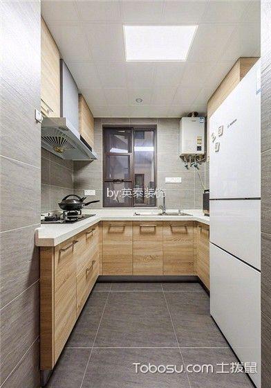 厨房米色橱柜北欧风格装潢设计图片