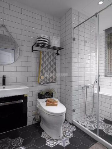卫生间隔断混搭风格装潢设计图片
