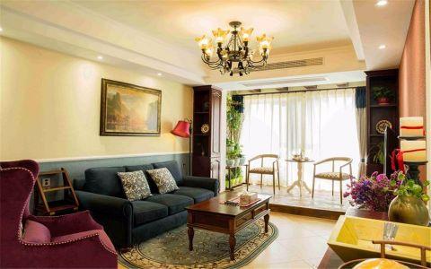 金基翠城110平美式风格三居室装修效果图