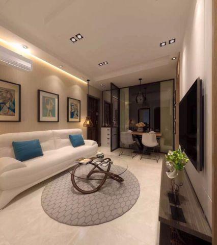 客厅推拉门新中式风格装修设计图片