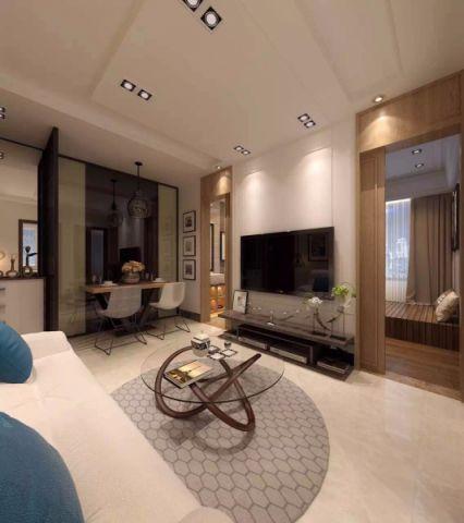 客厅推拉门新中式风格装潢设计图片