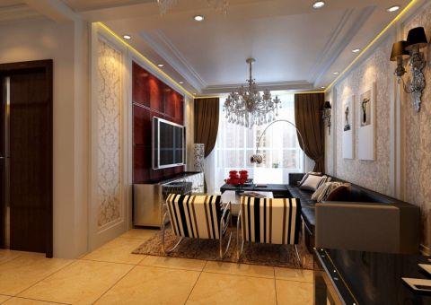泊岸华庭90平简欧风格二居室装修效果图