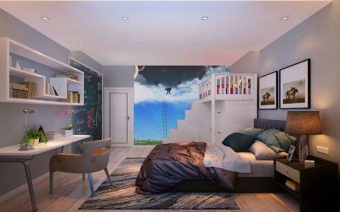 儿童房背景墙简约风格装修图片