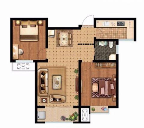 博雅盛世80平现代简约两室装修效果图