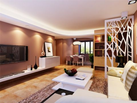客厅隔断现代简约风格装潢效果图