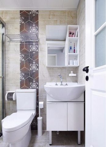 卫生间背景墙北欧风格装修图片