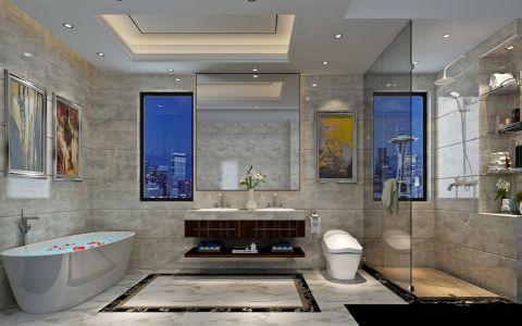 浴室浴缸新中式风格效果图