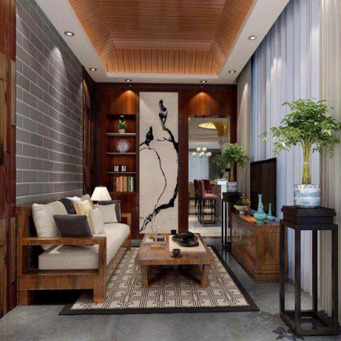 客厅木格栅吊顶新中式装潢图