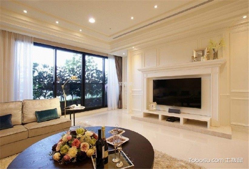 客厅 背景墙_联泰天悦120平美式风格三房装修新效果图