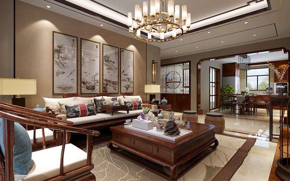 2室2卫2厅125平米新中式风格