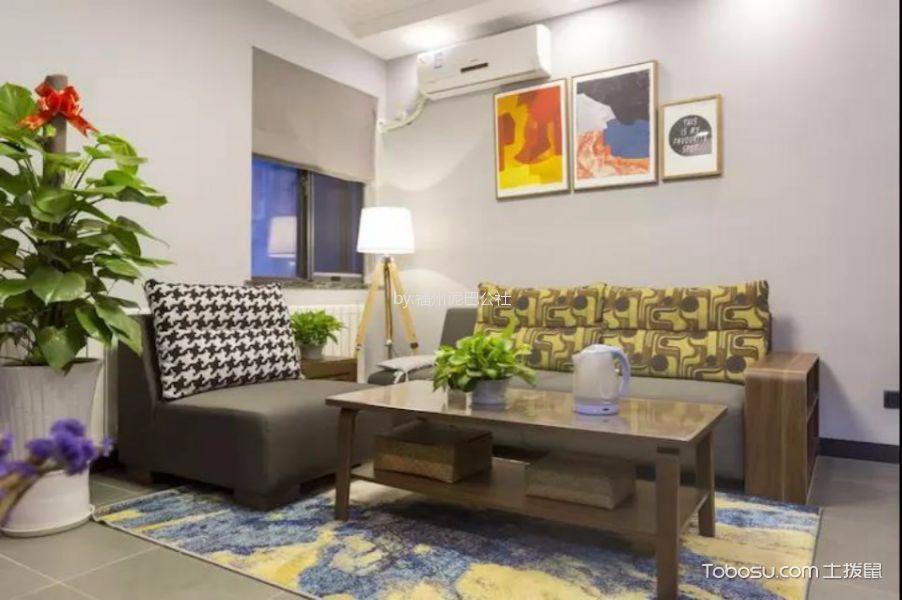 客厅灰色地砖北欧风格装饰图片