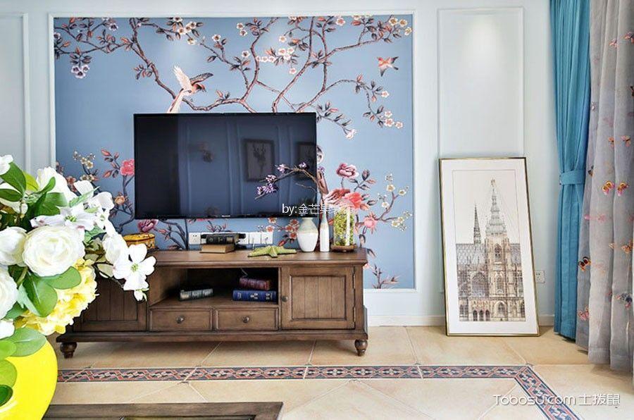 客厅 背景墙_桦林彩云城100平米混搭风小户型装修效果图