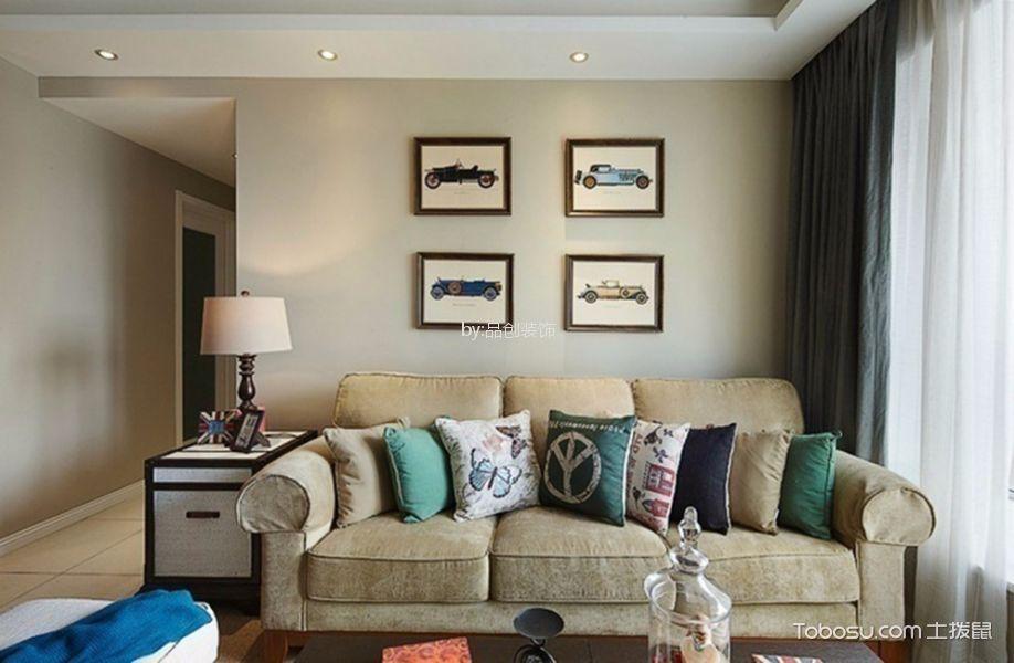北苑90平米美式风格三居室装修效果图