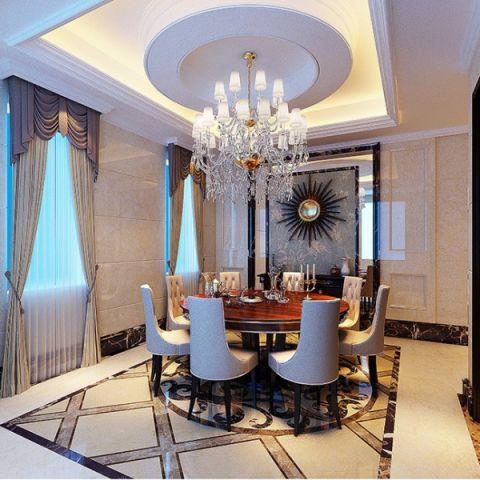 餐厅白色背景墙欧式风格装饰图片