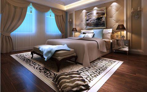 卧室米色窗帘欧式风格装修设计图片