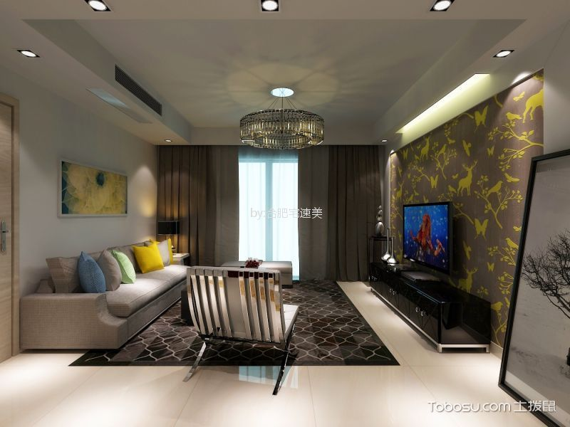 蓝天花园130m²现代风格三室装修效果图