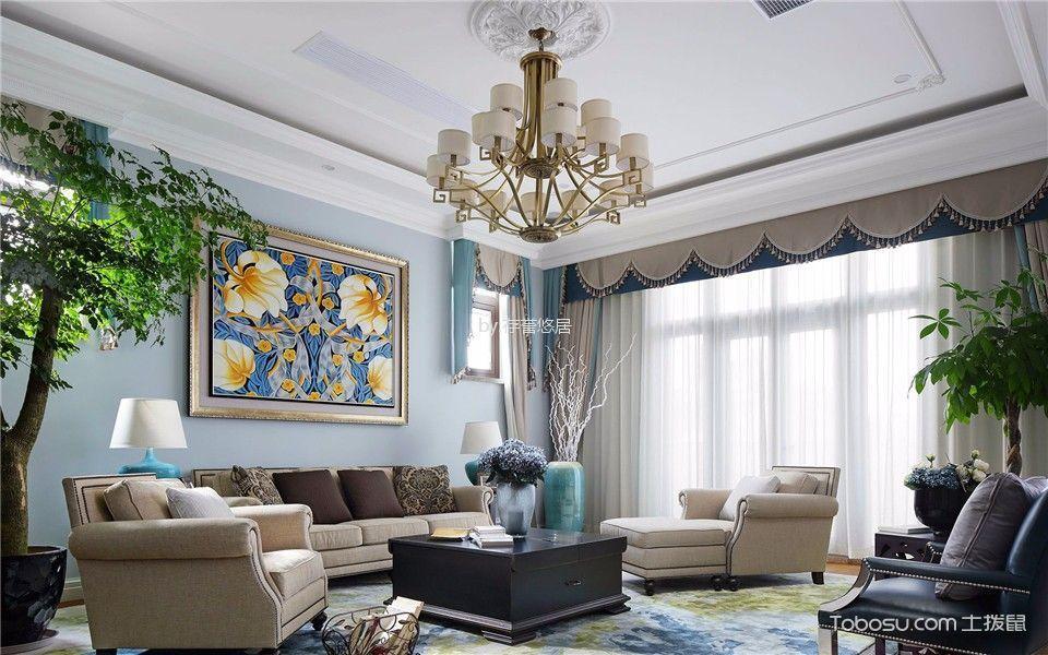 龙涛香榭丽园126平方美式复古风格装修效果图