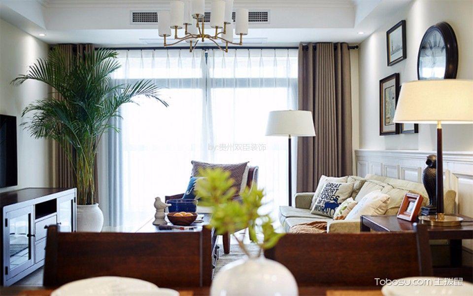 客厅黄色细节美式风格装修图片