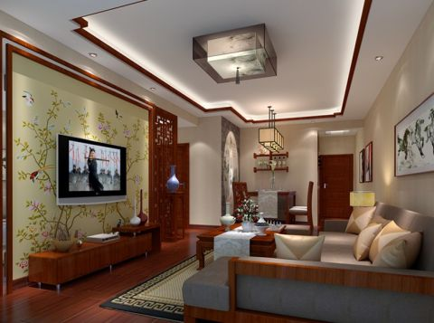 红谷十二庭三房两厅中式风格装修效果图