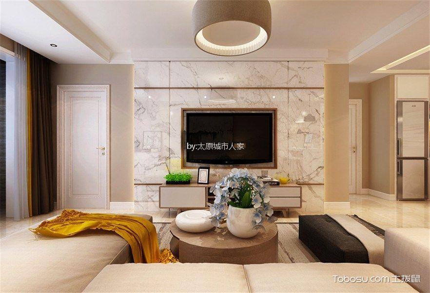 绿景未来城120平米现代简约风格三居室装修效果图