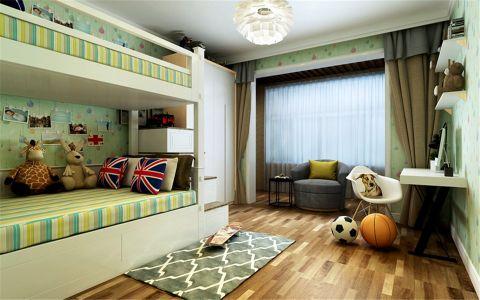 儿童房黄色床现代简约风格装潢效果图