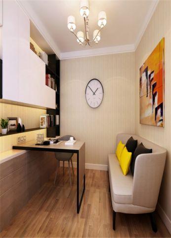 书房背景墙现代简约风格装潢图片
