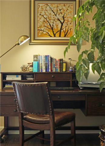 书房背景墙美式风格装饰效果图
