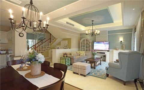 客厅吊顶美式风格装饰设计图片